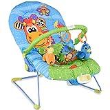 RELAX4LIFE Babywippe Musik mit Vibrationsfunktion, Schaukelwippe mit verstellbarer Rückenlehne, inkl. 3 niedliche Spielzeuge, Babyschaukel mit abnehmbarer Armlehne für Kinder-, Wohnimmer (Giraffe)