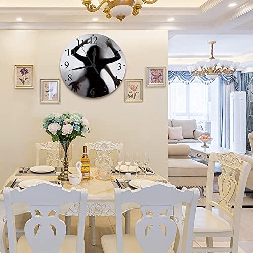 LUHUN 30 cm Wanduhr Rahmenlose Wanduhr mit Geräuschlosem Verführerische Schatten von nackten Frauen und Männern hinter dem weißen Hintergrund, Moderner Stil Dekoration Wohnzimmer Schlafzimmer Küche