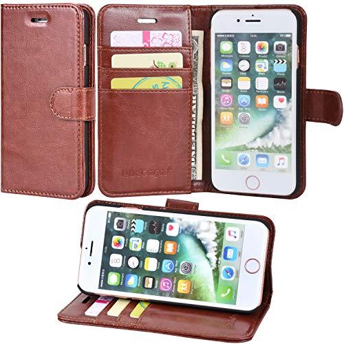 iPhone 7custodia, iPhone 8case, Wisdompro 2-in-1protettiva in pelle PU Premium [Folio] del cuoio di con supporto e porta carte di credito, per Apple iPhone 7, iPhone 8 Earthen