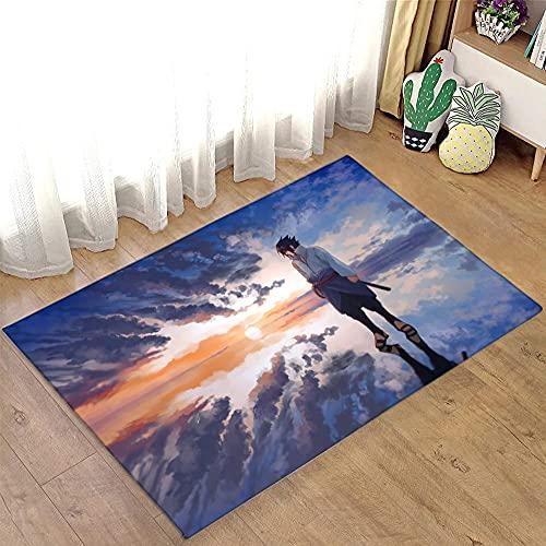 Queotty Tapete de área com estampa 3D Naruto Tapete para sofá, porta, cozinha, quarto, família, jogo, quarto, salão, sala de estudo, anime1_47,2x163,9 polegadas