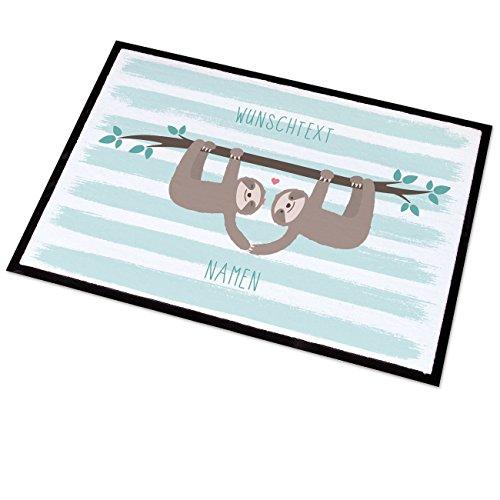 Cera & Toys® Fußmatte mit persönlichem Aufdruck 50x70 cm - Faultier Pärchen - mit Wunschtext und Namen