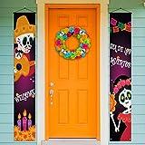 Rainlemon Welcome Dia De Los Muentos Porch Banner,Mexico The Day of The Dead, Sugar Skull Front Door Sign Decoration