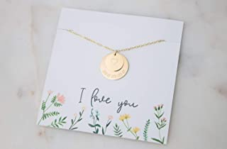"""Mamma Heart Love Disc Necklace Mothers Day Gift for Mom - Gold Filled 18"""""""