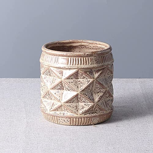 TREEECFCST Macetas De Ceramica Macetero Jardinera Maceta Decorativa Moderna Maceta para macetero Minimalista nórdico para el hogar 915(Color:Brown Flower)