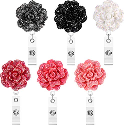 6 Pieces 24 Inch Retractable Badge Reels, Glitter Rose ID Badge Holder with 360 Degree Rotatable Alligator Clip, Name Badge Clip Reel with Retractable Cord, 6 Colors