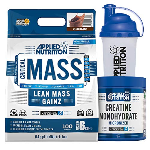 Applied Nutrition Bundle Critical Mass Protein Powder 6kg + Creatine Monohydrate 250g + 700ml Shaker | High Mass Gainer, Serious Weight Gain Supplement with BCAA (Chocolate)