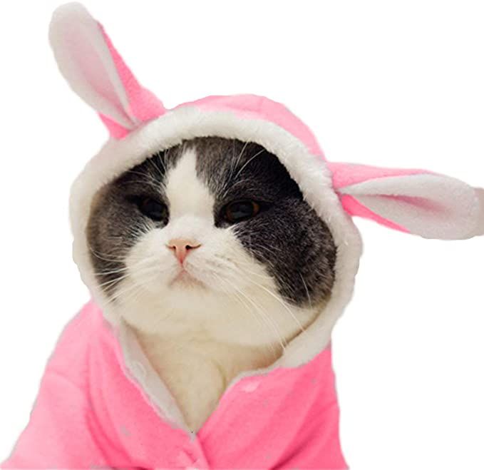 Delifur Pet Bunny Ears Headband Cute Cat Easter Costume White and Pink Rabbit Hat Decoration