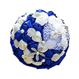 Ramo de novia Flor artificial hecha a mano Rosa para boda Ramo de boda azul Ramo de novia Cinta