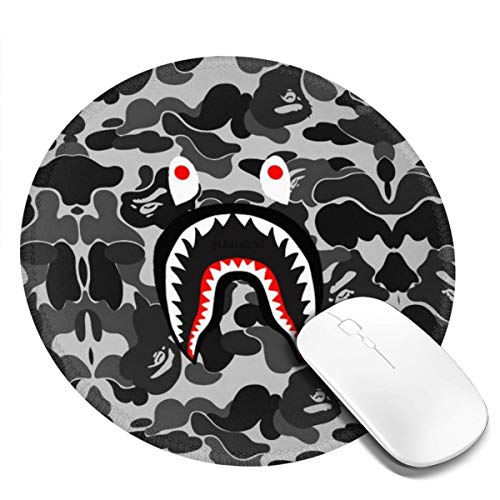 Ba-pe Shark Face Cool Camo Mousepad Non-Slip Rubber Gaming Mouse Pad Mouse Pads for Computers Laptop 8.0x8.0 in
