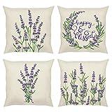 Bonhause Juego de 4 Funda de Cojín 45x45cm Lavanda Flores Púrpura Algodón Lino Fundas de Almohada para Cojines Decorativos para Exterior Sofá Cama Coche Hogar