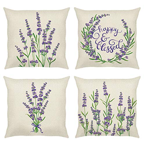 Bonhause Purple Flower Lavender Cushion Covers 18 x 18 Inch Set of 4 Floral Decorative Throw Pillow Covers Cotton Linen Square Pillowcases for Sofa Couch Car Bedroom Indoor Outdoor Decor, 45cm x 45cm