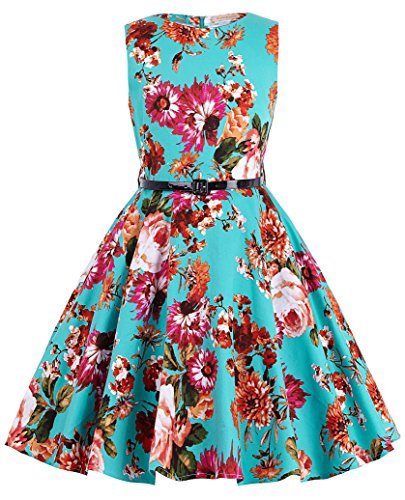 Niña Vestido Estampado Floral Sin Mangas Vestido 50s de Princesa para Niñas 11 Años KK250-1