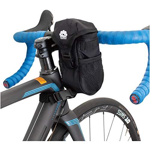 GORIX(ゴリックス) フロントバッグ 自転車用 ハンドルバッグ ステム フロント [ロードバイク・クロスバイク・マウンテンバイク] 小物入れ ポーチ (B16) ブラック