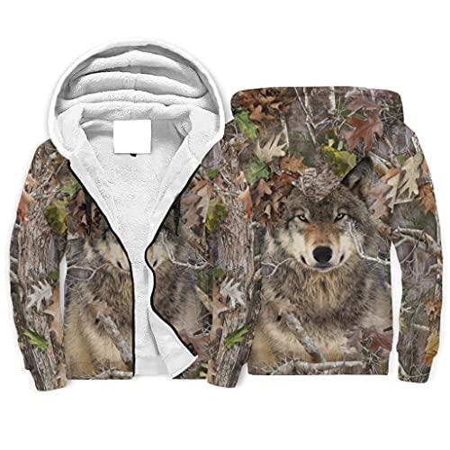 kikomia Sudadera con capucha y cremallera frontal, diseo de camuflaje, bosque y lobo, Blanco, XXXXL