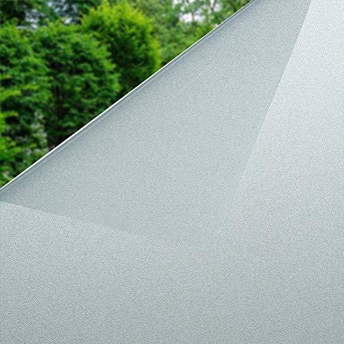 MUHOO Fensterfolie Sichtschutz Selbstklebend Sichtschutzfolie Blickdicht Milchglasfolie für Fenster 90 x 200 cm