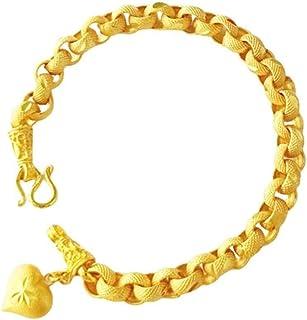 16Wicuas 2Pieces Gold Plated Chain Bracelet Sandblasted Hypoallergic Anti-Tarnish