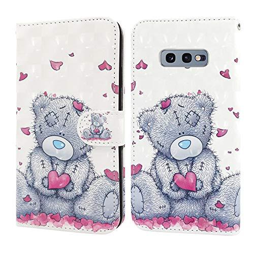 Ailisi Samsung Galaxy S10e Hülle Teddy Bear 3D Muster Handyhülle Schutzhülle PU Leder Wallet Case Flip Case Klapphüllen Brieftasche Ledertasche Tasche Etui im Bookstyle
