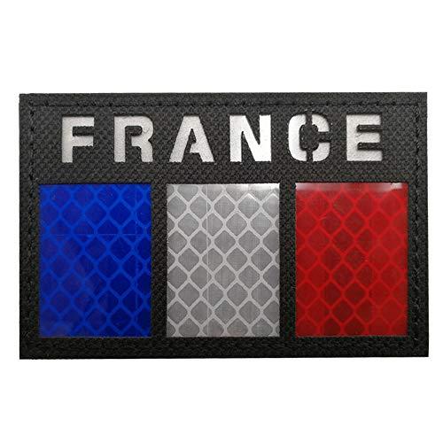 Écusson infrarouge réfléchissant drapeau de la France pour moto, motard, tactique, militaire, brassard, emblème pour voyage, sac à dos, chapeaux, vestes, uniforme d'équipe, paintball, airsoft