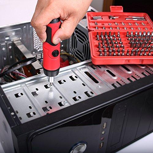 EFFICERE 101-Piece All Purpose Security Bit Set with Bonus Ratcheting Screwdriver, Chrome Vanadium Steel, Tamper Proof Design, ANSI Standard