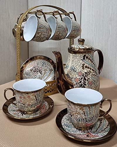 Juego de te completo de ceramica tetera con filtro y tapa 6 tazas con plato de ceramica. cafetera de ceramica y base de metal dorado