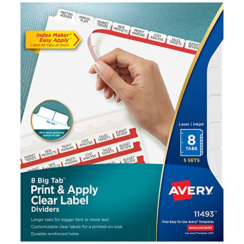 Avery 8 Big Tab Binder Dividers, Easy Print & Apply Clear Label Strip, Index Maker, White Tabs, 5 Sets (11493)