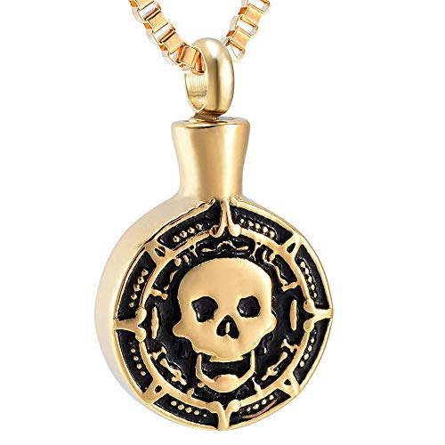 Ashes Necklace Keepsake Jewelry Stainless Steel Cremation Jewelry Trendy Fashion Skull Head Urn Ashes Necklaces Punk Memorial Ash Keepsake Pendant