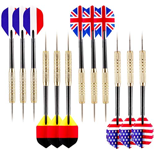 Ohuhu 12 Pcs Tip Darts with National Flag Flights (4 Styles) - Stainless Steel Needle Tip Dart with...