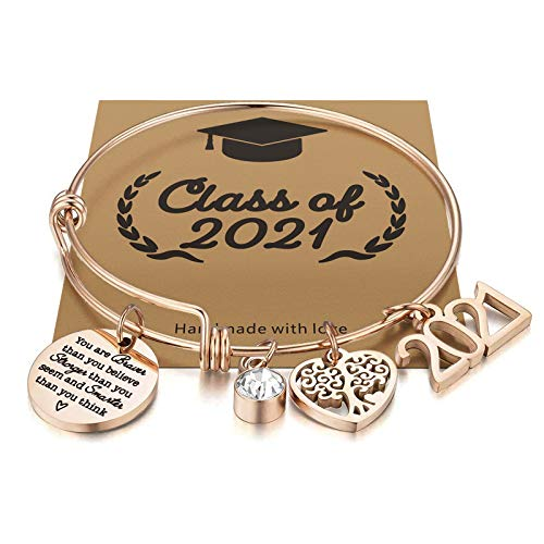 Graduation Gifts for Her 2021 College High School Graduation Gifts,You are Braver Than You Believe Inspirational Graduation Bracelet for Daughter Niece(You are Braver Than You Believe Rose Gold)