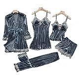KUXUAN Conjuntos de Pijamas Sexy para Mujer 5 Piezas - Terciopelo Dorado,Camisón de Tirantes Sexy con Almohadilla para El Pecho,Grey-Xxlarge