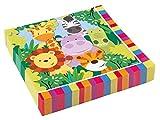 amscan Ply Luncheon Napkins Party Pack 33cm-20 Pcs Jungle Friends-Tovaglioli a 2 veli, confezione da 20 pezzi, 33 cm, Partito della giungla, Taglia unica, 11012023