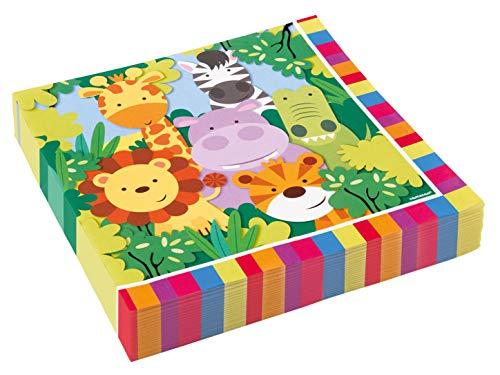 Amscan 9901915 - Servietten Dschungel, 20 Stück, 33 x 33 cm, Partygeschirr, Kindergeburtstag