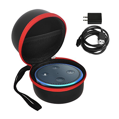 Echo Dot case / bag / box, KuGi Portable Protective Carrying Case Cover Bag Box for Amazon Echo Dot and All-New Echo Dot (2nd Generation), Compatible with USB Cable and Wall Charger (Black-Red)