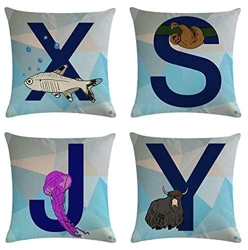 JOVEGSRVA Juego de 4 fundas de almohada decorativas de 45 cm x 45 cm de dibujos animados para sala de estar sofá cama