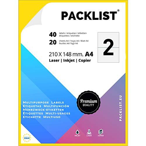 PACKLIST 40 Etiquetas Adhesivas Blancas, 210 x 148 mm. 20 Hojas Papel Pegatina para Imprimir A4, 2 Etiquetas por Hoja - Papel Adhesivo para Imprimir - Papel de Pegatina para Imprimir de Calidad