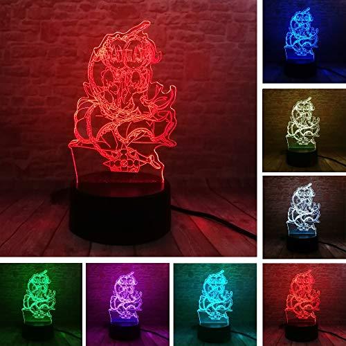 Magische heks nachtlampje voor kinderen, 3D-illusie-lamp, 7 kleuren, met afstandsbediening, sfeerlicht, vakantie en verjaardagscadeau voor jongens en meisjes