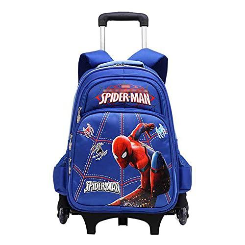 MYYLY Mochilas para Niños Mochila De Spiderman con Ruedas La Escuela Viaje Patrón Impresión 3D Superhéroe Impermeable,Blue-6 Wheel