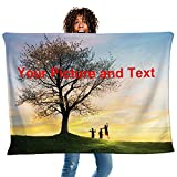 Custom Blankets with Photos Collage with Name and Text Personalized Flannel Fleece Throw Blanket Gift for Adults Baby Grandma Mom Dad Kids Family (18'x28')