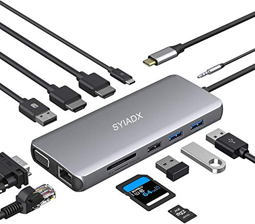 SYIADX USB C Hub,USB C Docking Station,12 in 1 Triple Display Type C Adapter with 2 USB 3.0,2 USB 2.0,Dual 4K HDMI,VGA,RJ45 Ethernet,PD3.0,SD&TF Card Reader,Audio for MacBook and Other Type C Devices