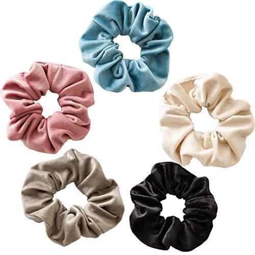 Funlovin Velvet Scrunchies Soft Hair Scrunchies Large Big Scrunchie Pack Solid Color Ponytail Holder Cute Pastel Hair Ties Bands Elastics Scrunchy for Women Grils (Pink, Black, Blue, White, Grey)