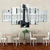 BDFDF Lienzo 5 Piezas Cuadro Lienzo No Tejido Lección De Guitarra Tocar Música 5 Carteles Pintura Mural Modernos Hogar Decoracion Artes 150X80Cm