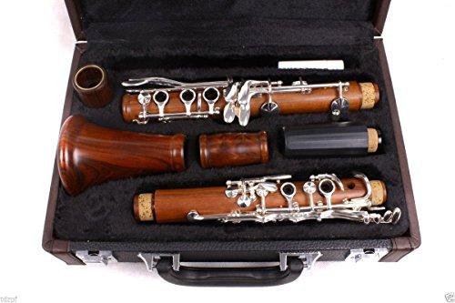 Yinfente Clarinete intermedio B-Flat Cuerpo de madera de palisandro placa plateada Bb Key Case + Cañas + Almohadillas
