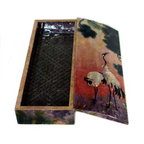 Boîte à Crayon Nacre Déco Grue Corée Antique Collection Dynastie Joseon RARE