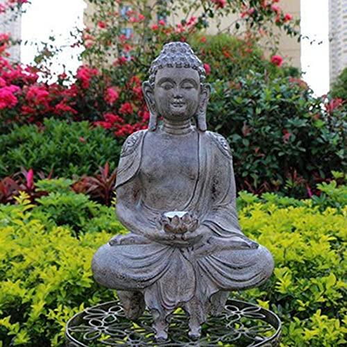 Statues Ornament Chinese Zen Solar Light Buddha Statue,Outdoor Decorative Statue,Garden Antique Buddha Statue,Resin Ornaments Crafts,Yard Art Decoration C 40x24cm Home Decor