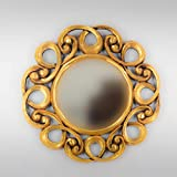 Rococo Espejo Decorativo de Madera Gospel de 50x50 en Oro (Envejecido)