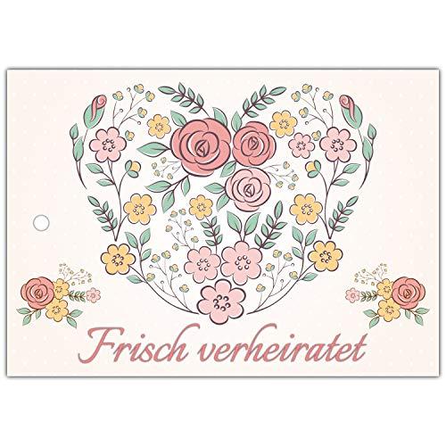 70 Ballonflugkarten zur Hochzeit BLUMEN-HERZ - gelocht und extra leicht für langen Flug als Hochzeitsspiel Ballonkarten Postkarten - von BREITENWERK