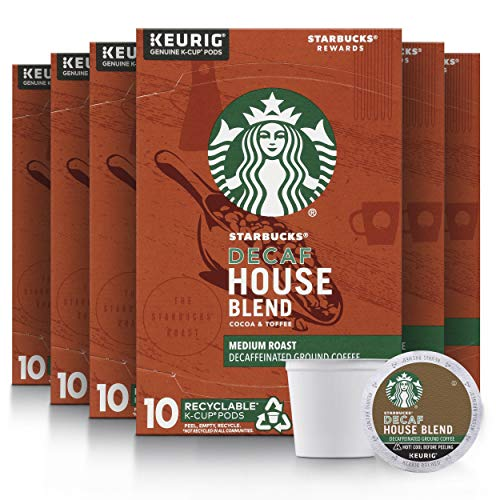 Starbucks Decaf K-Cup Coffee Pods — House Blend for Keurig Brewers — 6 boxes (60 pods total)