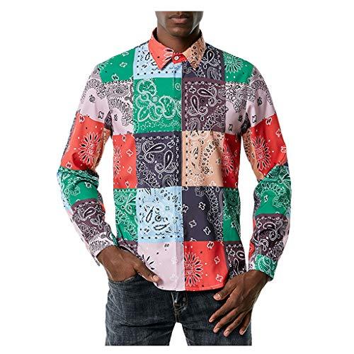 Herren Langarmhemd Hemd, Blumen Hemden Herren Bunte Hemden Langarmhemd Muster Freizeitshemd Langarm Casual Shirt Bedruckte Tops Bluse