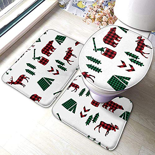 N \ A Animal Buffalo Plaid 3 Piece Bathroom Pads Includes Anti-Skid Pads Bath Mat + Contour + Toilet Lid Cover