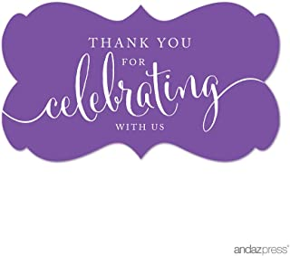 Andaz Press Fancy Frame Rectangular Label Stickers, Thank You for Celebrating With Us, Purple, 36-Pack