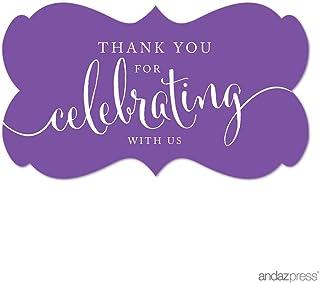 ملصقات ملصقات ملصقات ملصقات بعلامة مستطيلة الشكل عليها عبارة Thank You for Celebrating With Us، باللون الأرجواني، عبوة من ...